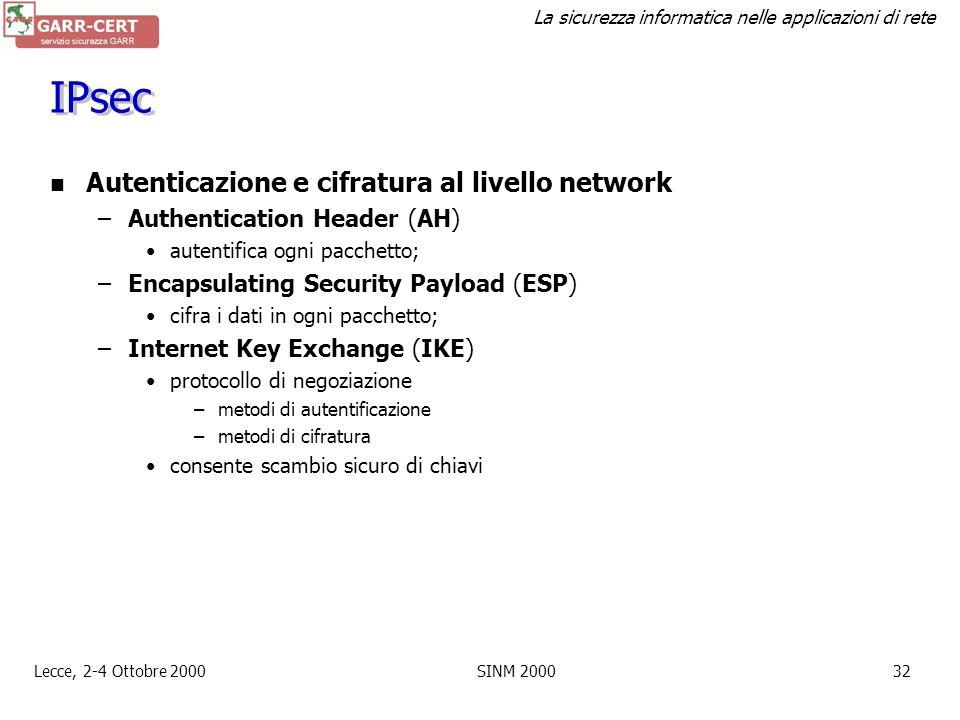 La sicurezza informatica nelle applicazioni di rete Lecce, 2-4 Ottobre 2000SINM 200031 Protocolli (3/3) IP + IPsec TCP telnet FTPhttp IP TCP SSL/TLS I
