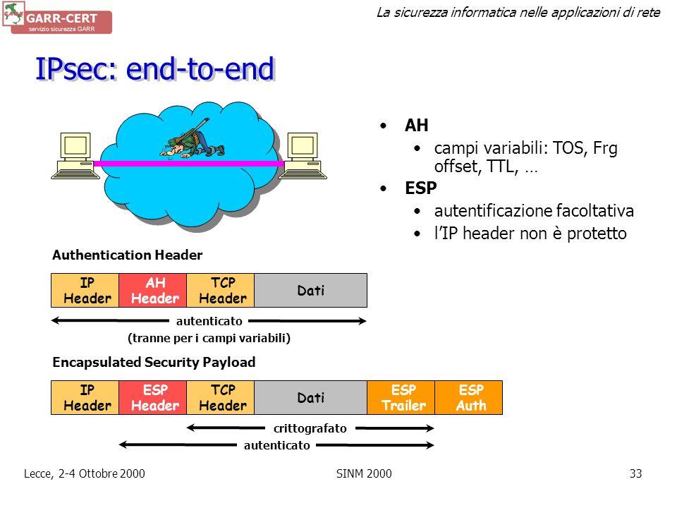 La sicurezza informatica nelle applicazioni di rete Lecce, 2-4 Ottobre 2000SINM 200032 IPsec Autenticazione e cifratura al livello network –Authentica