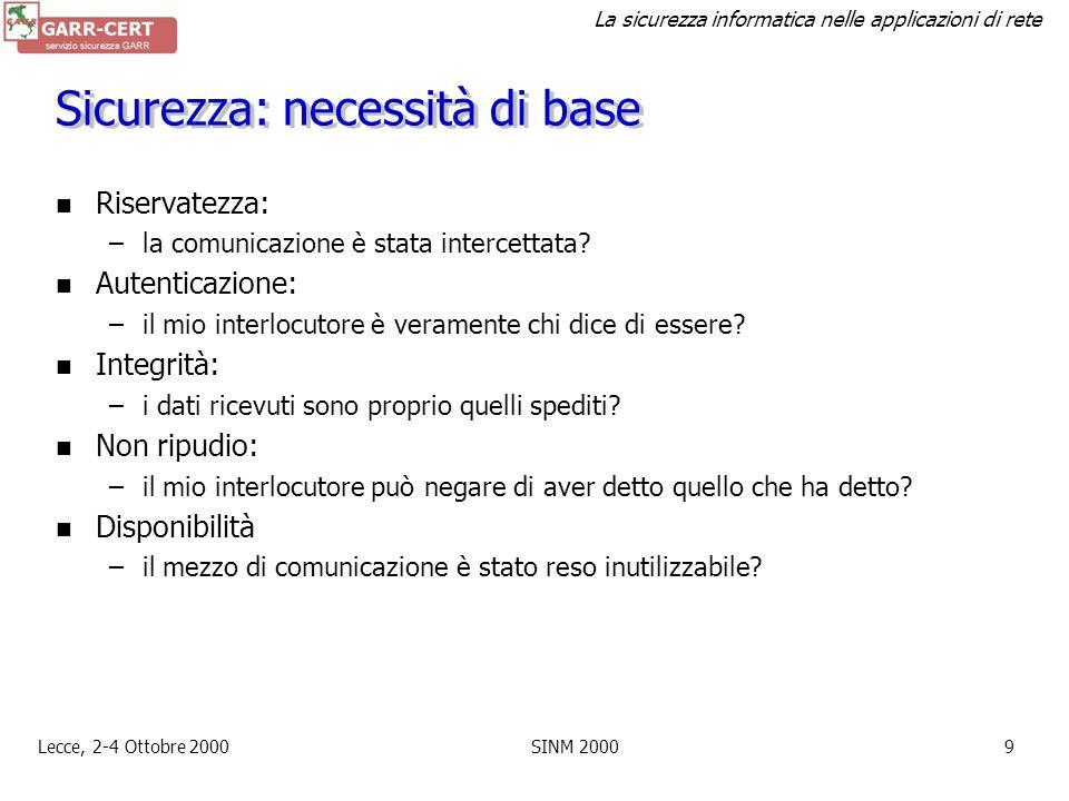 La sicurezza informatica nelle applicazioni di rete Lecce, 2-4 Ottobre 2000SINM 20008 Incidenti segnalati a GARR-CERT