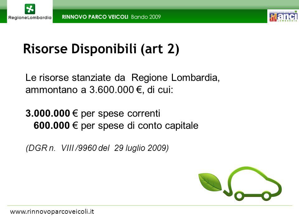Risorse Disponibili (art 2) www.rinnovoparcoveicoli.it Le risorse stanziate da Regione Lombardia, ammontano a 3.600.000, di cui: 3.000.000 per spese correnti 600.000 per spese di conto capitale (DGR n.