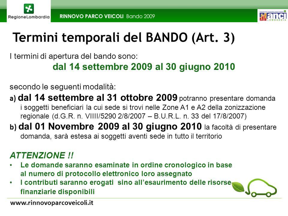 Termini temporali del BANDO (Art.