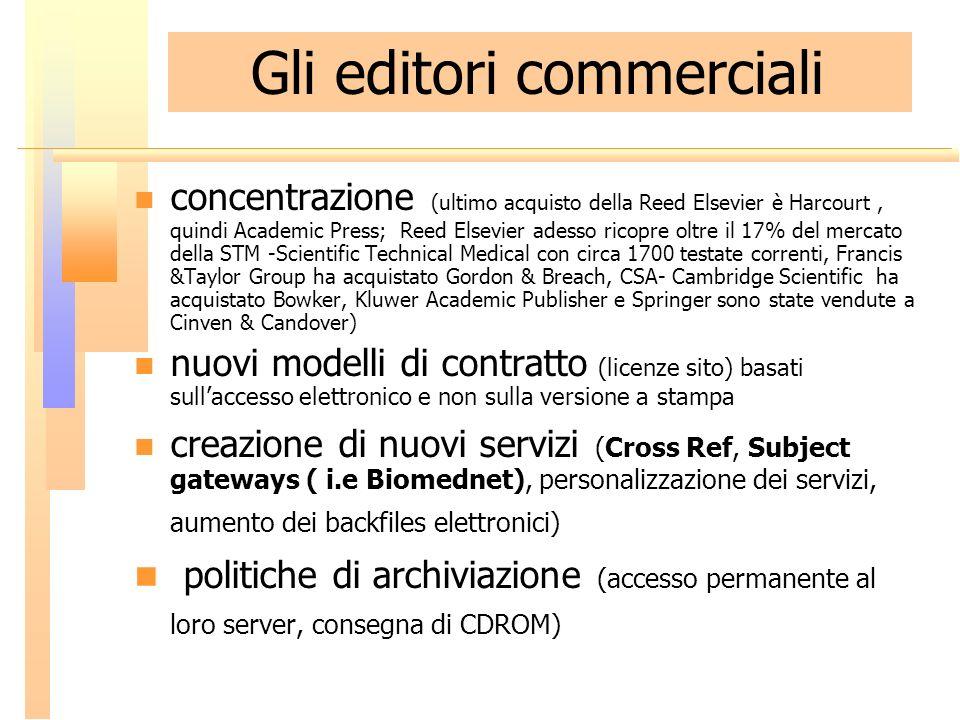 Gli editori commerciali concentrazione (ultimo acquisto della Reed Elsevier è Harcourt, quindi Academic Press; Reed Elsevier adesso ricopre oltre il 1