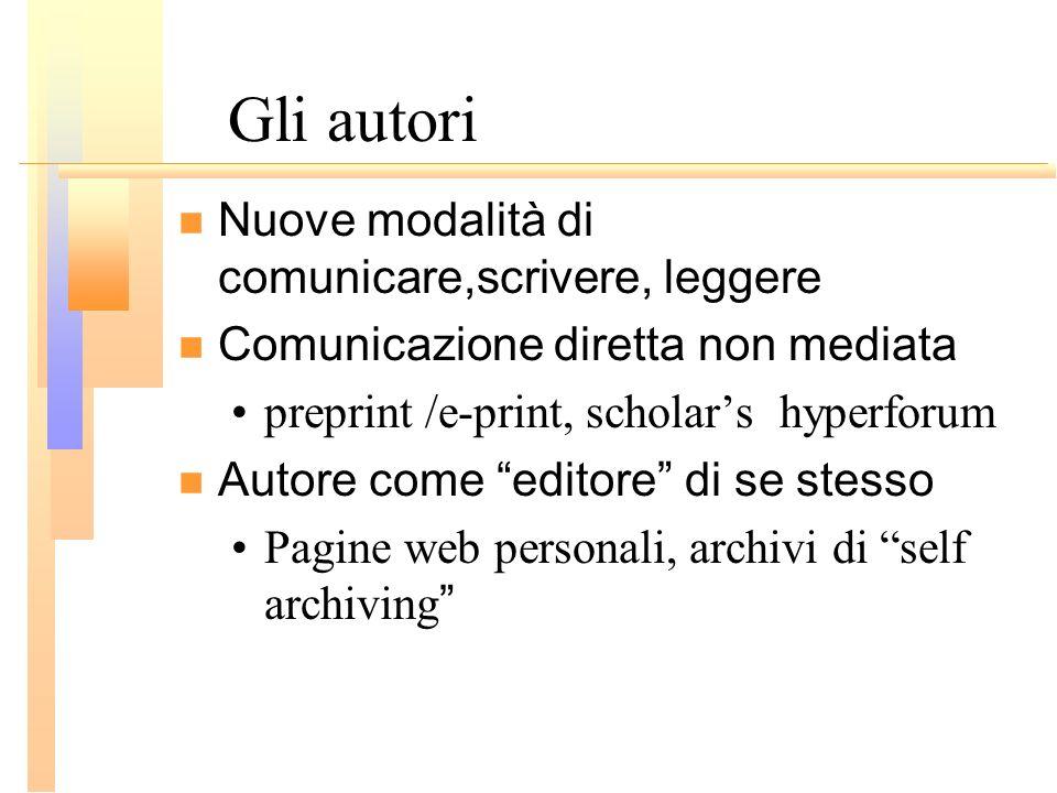 Gli autori Nuove modalità di comunicare,scrivere, leggere Comunicazione diretta non mediata preprint /e-print, scholars hyperforum Autore come editore