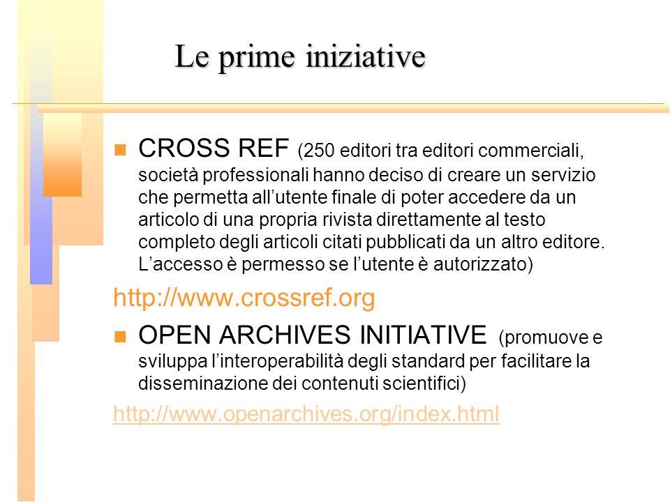 Le prime iniziative CROSS REF (250 editori tra editori commerciali, società professionali hanno deciso di creare un servizio che permetta allutente fi