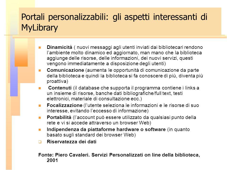 Dinamicità ( nuovi messaggi agli utenti inviati dai bibliotecari rendono lambiente molto dinamico ed aggiornato, man mano che la biblioteca aggiunge d