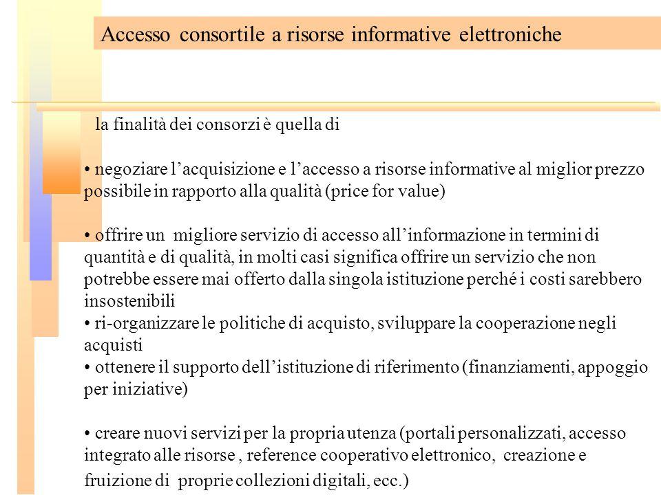 Accesso consortile a risorse informative elettroniche la finalità dei consorzi è quella di negoziare lacquisizione e laccesso a risorse informative al