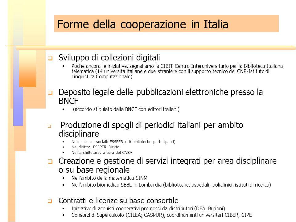 Forme della cooperazione in Italia Sviluppo di collezioni digitali Poche ancora le iniziative, segnaliamo la CIBIT-Centro Interuniversitario per la Bi