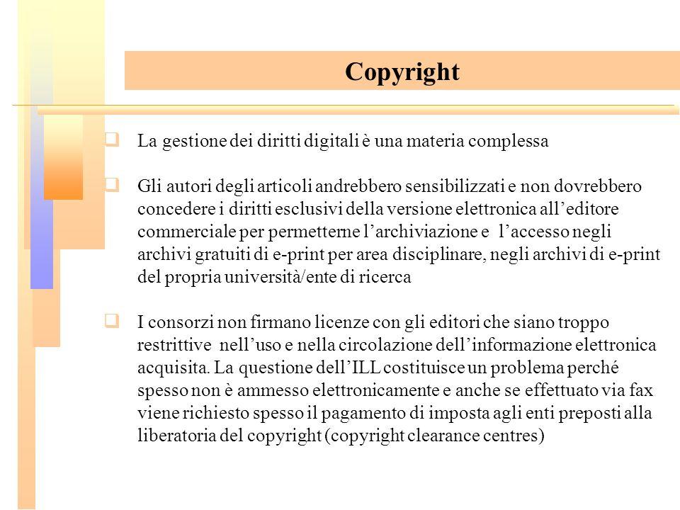 La gestione dei diritti digitali è una materia complessa Gli autori degli articoli andrebbero sensibilizzati e non dovrebbero concedere i diritti escl