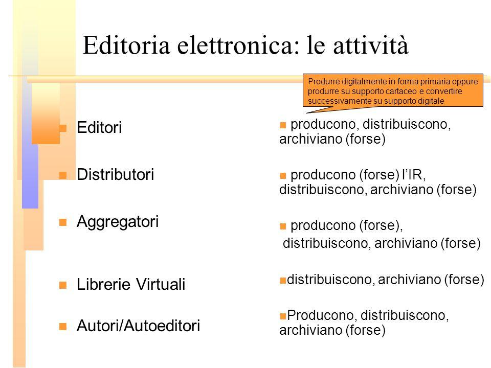 Editoria elettronica: le attività Editori Distributori Aggregatori Librerie Virtuali Autori/Autoeditori producono, distribuiscono, archiviano (forse)