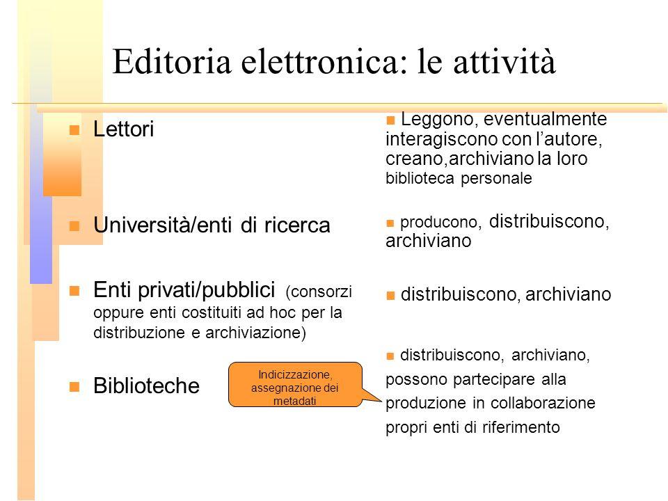 Editoria elettronica: le attività Lettori Università/enti di ricerca Enti privati/pubblici (consorzi oppure enti costituiti ad hoc per la distribuzion
