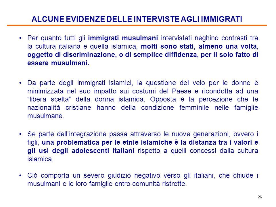 25 Fonte di rabbia e di scontento per tutti gli immigrati intervistati è il mancato riconoscimento dei titoli di studio a cui viene ricondotto il dema