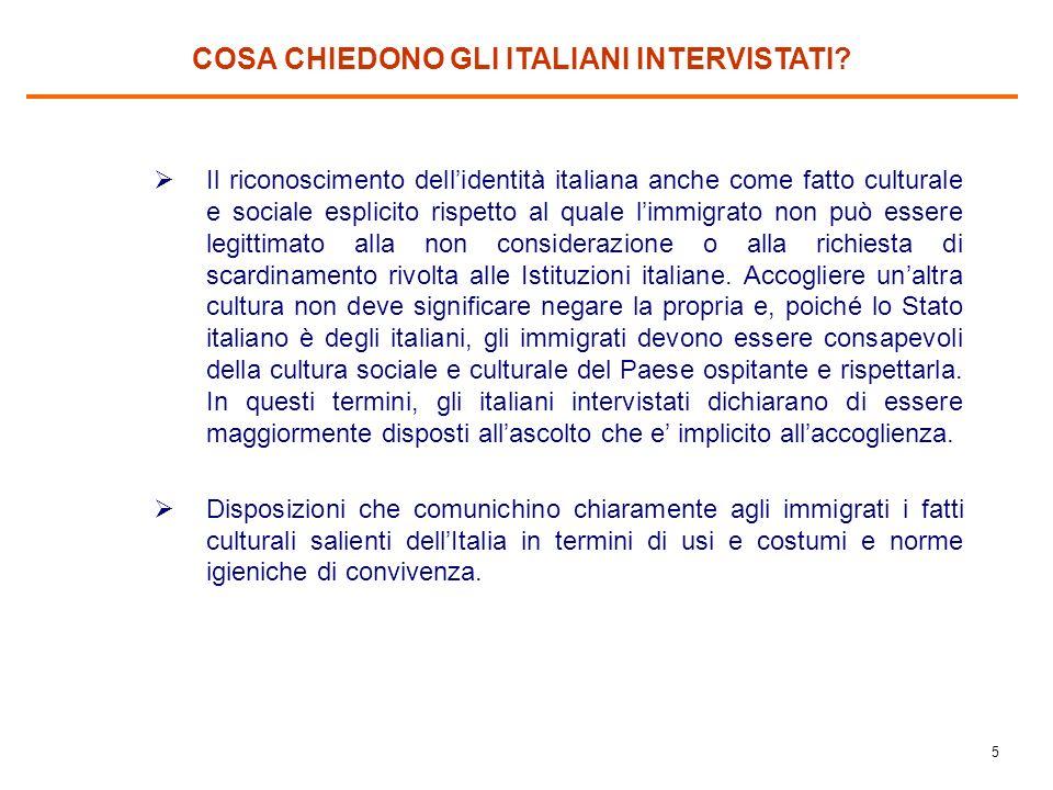 4 COSA CHIEDONO GLI ITALIANI INTERVISTATI? Il rispetto della legalità da parte degli immigrati. Se trasgrediscono, revocargli i diritti/privilegi ed e