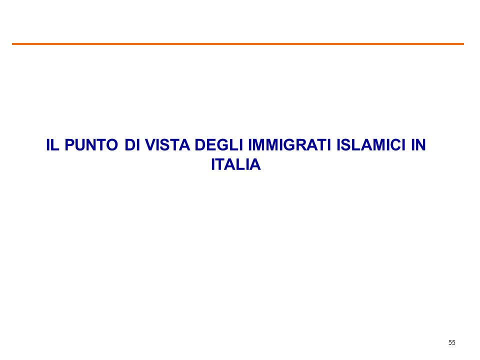 54 GRADO DI CONOSCENZA DELLISLAMISMO (%) Base immigrati: 64,6% del campione. Italiani: intero campione.
