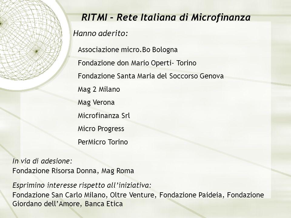 RITMI - Rete Italiana di Microfinanza Hanno aderito: In via di adesione: Associazione micro.Bo Bologna Fondazione don Mario Operti- Torino Fondazione