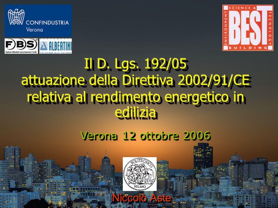 Niccolò Aste - POLITECNICO DI MILANO (niccolo.aste@polimi.it) LA SITUAZIONE ENERGETICO-AMBIENTALE Unione Europea: consumi energetici Italia: edificio medio Fabbisogno per riscaldamento: 100 kWh/m 2 anno Fabbisogno elettrico: 40 kWh/m 2 anno Emissioni CO 2 : 60 kg/ m 2 anno