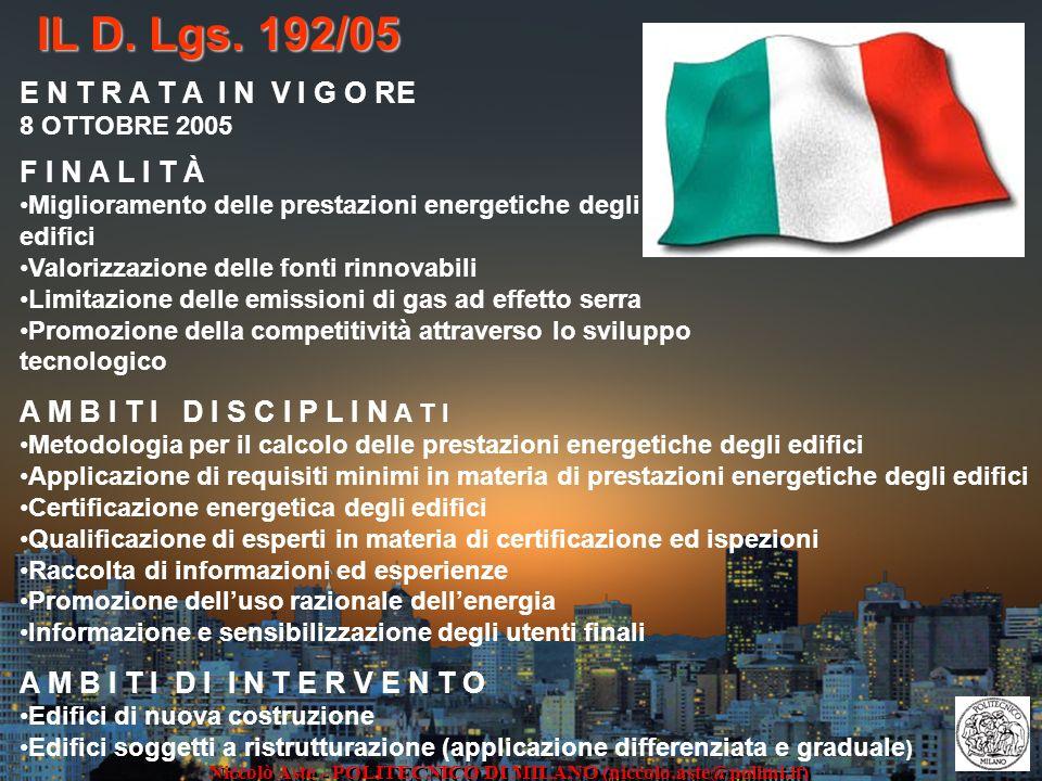 IL D. Lgs. 192/05 F I N A L I T À Miglioramento delle prestazioni energetiche degli edifici Valorizzazione delle fonti rinnovabili Limitazione delle e