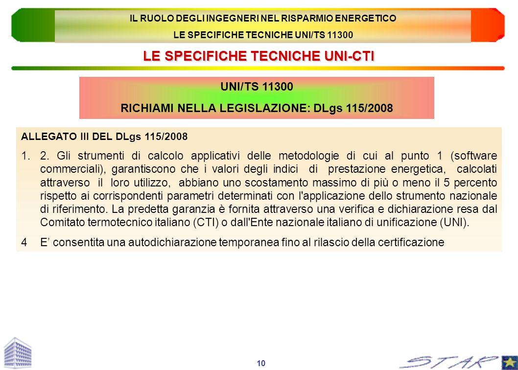 LE SPECIFICHE TECNICHE UNI-CTI UNI/TS 11300 RICHIAMI NELLA LEGISLAZIONE: DLgs 115/2008 ALLEGATO III DEL DLgs 115/2008 1.2. Gli strumenti di calcolo ap