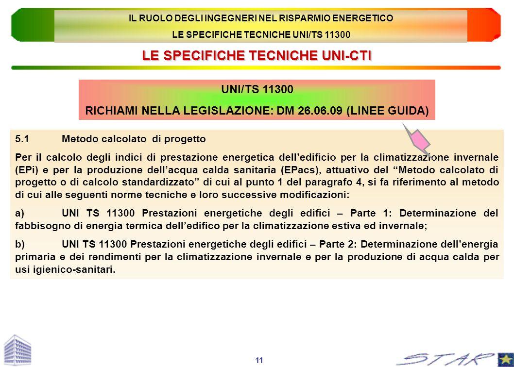 LE SPECIFICHE TECNICHE UNI-CTI UNI/TS 11300 RICHIAMI NELLA LEGISLAZIONE: DM 26.06.09 (LINEE GUIDA) 5.1Metodo calcolato di progetto Per il calcolo degl