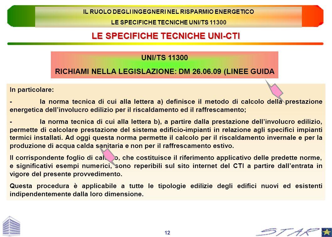 LE SPECIFICHE TECNICHE UNI-CTI UNI/TS 11300 RICHIAMI NELLA LEGISLAZIONE: DM 26.06.09 (LINEE GUIDA In particolare: -la norma tecnica di cui alla letter