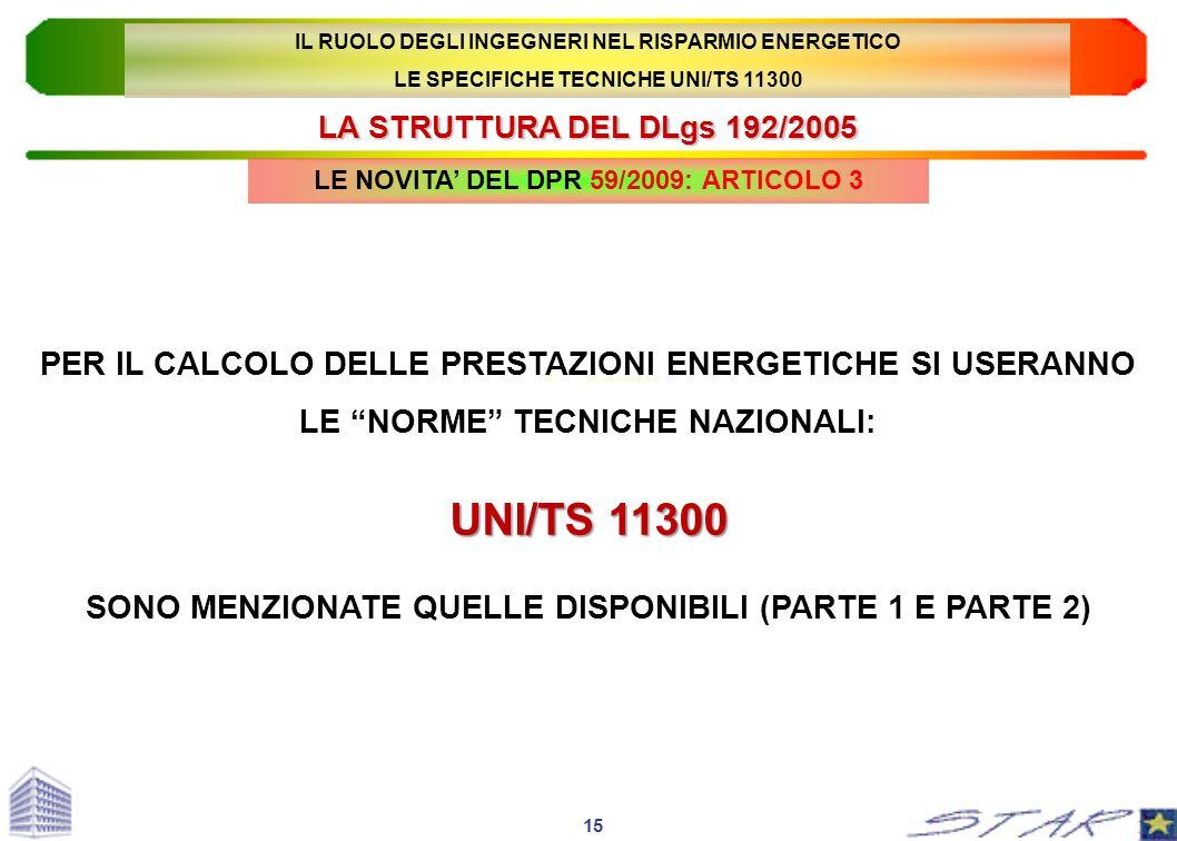 LA STRUTTURA DEL DLgs 192/2005 15 PER IL CALCOLO DELLE PRESTAZIONI ENERGETICHE SI USERANNO LE NORME TECNICHE NAZIONALI: UNI/TS 11300 SONO MENZIONATE Q