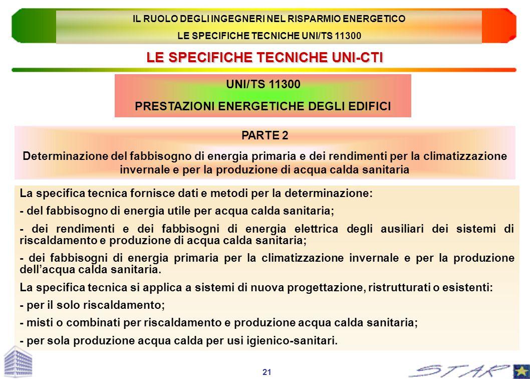 LE SPECIFICHE TECNICHE UNI-CTI PARTE 2 Determinazione del fabbisogno di energia primaria e dei rendimenti per la climatizzazione invernale e per la pr