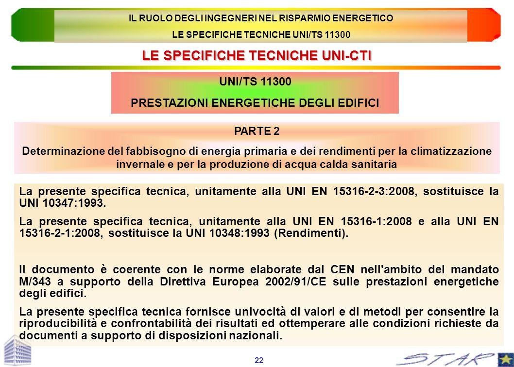 LE SPECIFICHE TECNICHE UNI-CTI UNI/TS 11300 PRESTAZIONI ENERGETICHE DEGLI EDIFICI La presente specifica tecnica, unitamente alla UNI EN 15316-2-3:2008