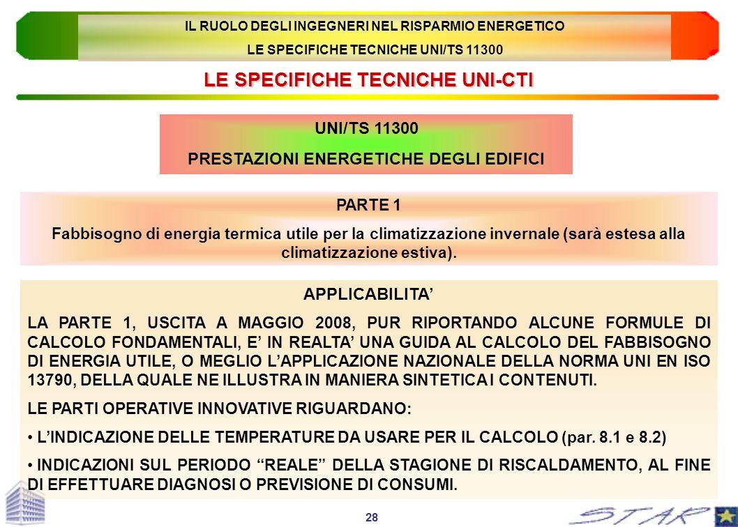 LE SPECIFICHE TECNICHE UNI-CTI PARTE 1 Fabbisogno di energia termica utile per la climatizzazione invernale (sarà estesa alla climatizzazione estiva).