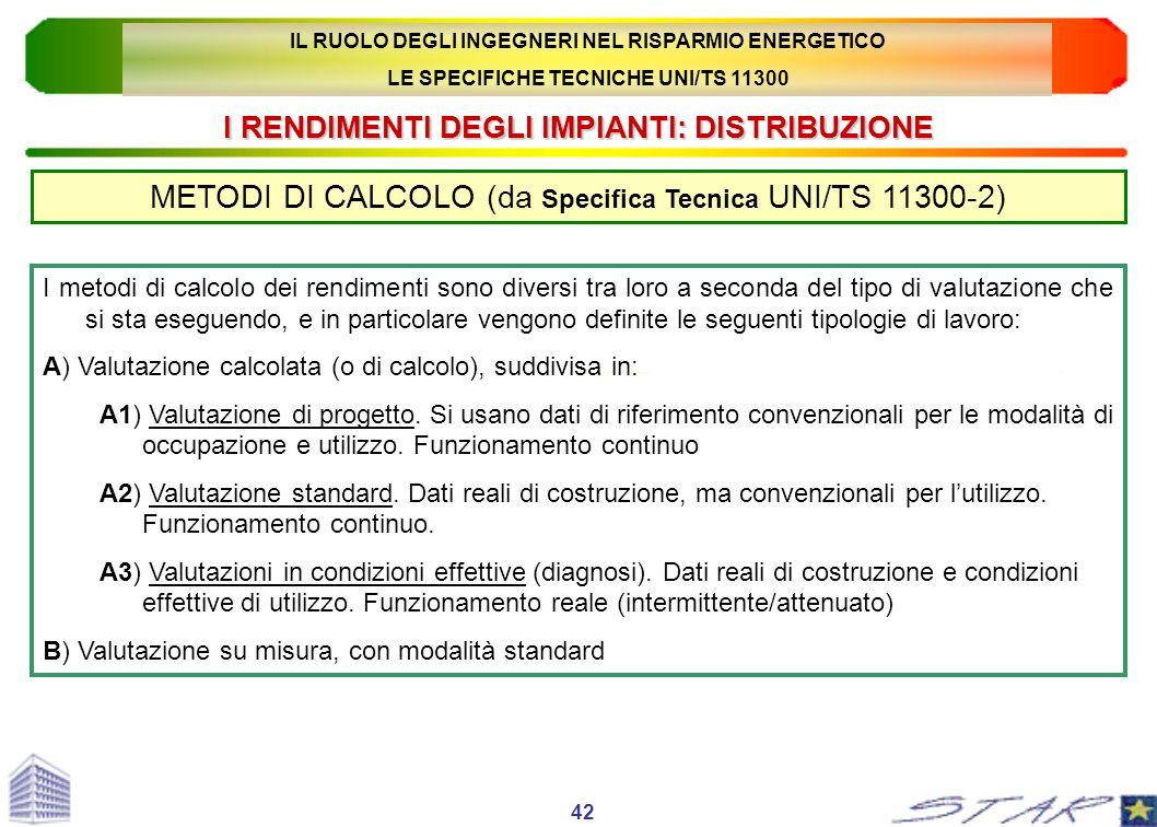 I RENDIMENTI DEGLI IMPIANTI: DISTRIBUZIONE METODI DI CALCOLO (da Specifica Tecnica UNI/TS 11300-2) 42 I metodi di calcolo dei rendimenti sono diversi