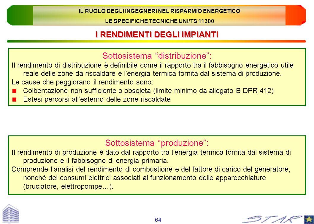 I RENDIMENTI DEGLI IMPIANTI Sottosistema distribuzione: Il rendimento di distribuzione è definibile come il rapporto tra il fabbisogno energetico util