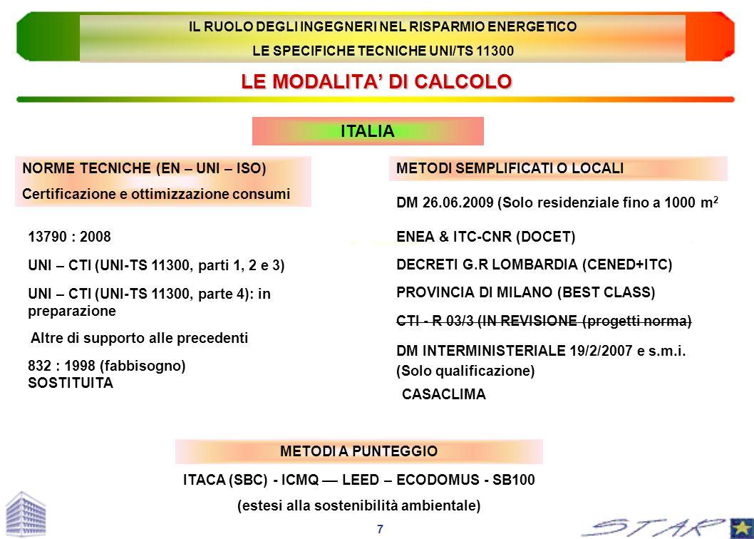 LE MODALITA DI CALCOLO NORME TECNICHE (EN – UNI – ISO) Certificazione e ottimizzazione consumi METODI SEMPLIFICATI O LOCALI 13790 : 2008 832 : 1998 (f