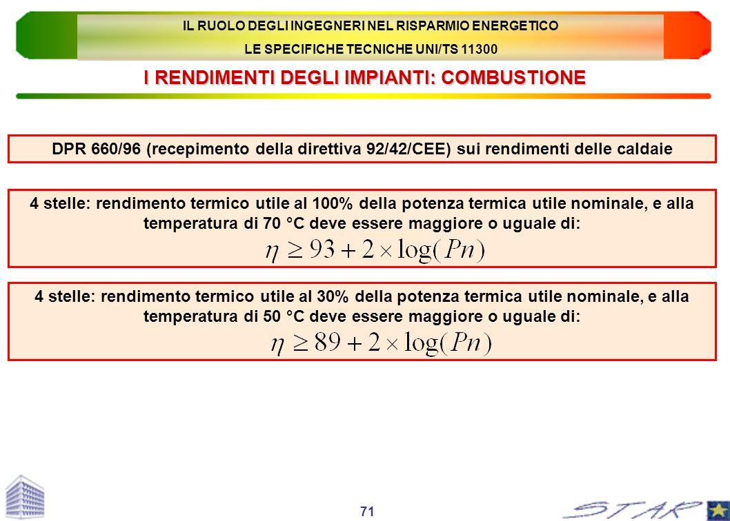 I RENDIMENTI DEGLI IMPIANTI: COMBUSTIONE DPR 660/96 (recepimento della direttiva 92/42/CEE) sui rendimenti delle caldaie 4 stelle: rendimento termico