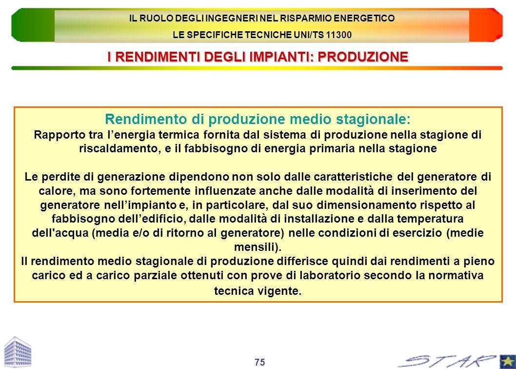 I RENDIMENTI DEGLI IMPIANTI: PRODUZIONE Rendimento di produzione medio stagionale: Rapporto tra lenergia termica fornita dal sistema di produzione nel