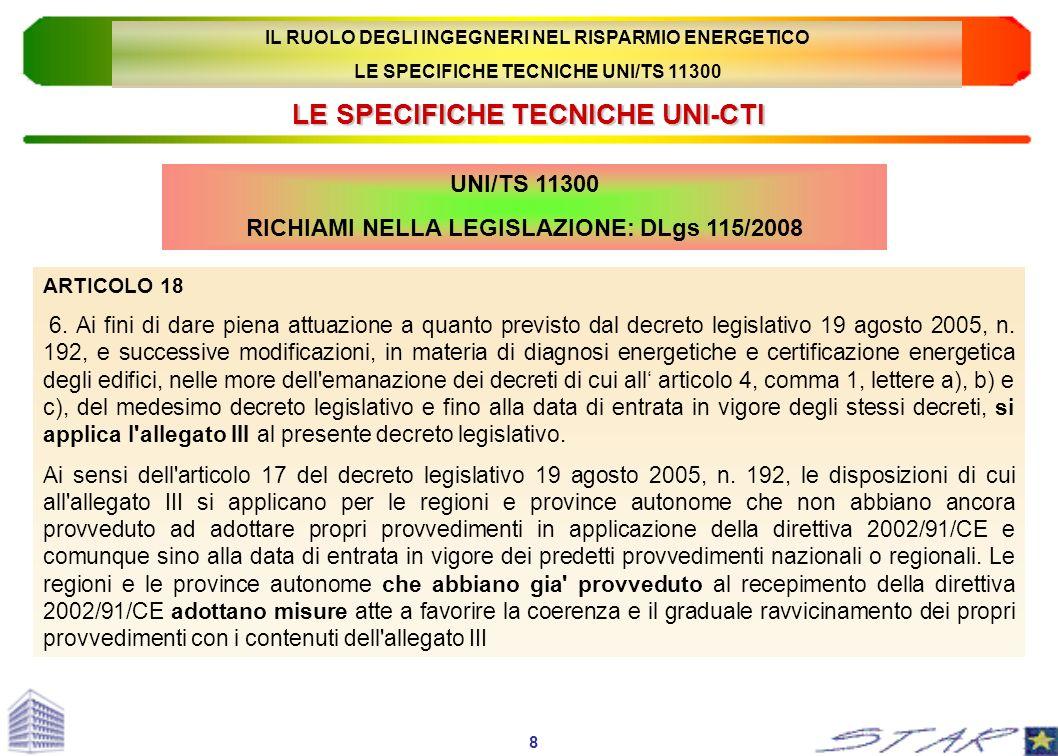 LE SPECIFICHE TECNICHE UNI-CTI UNI/TS 11300 RICHIAMI NELLA LEGISLAZIONE: DLgs 115/2008 ARTICOLO 18 6. Ai fini di dare piena attuazione a quanto previs