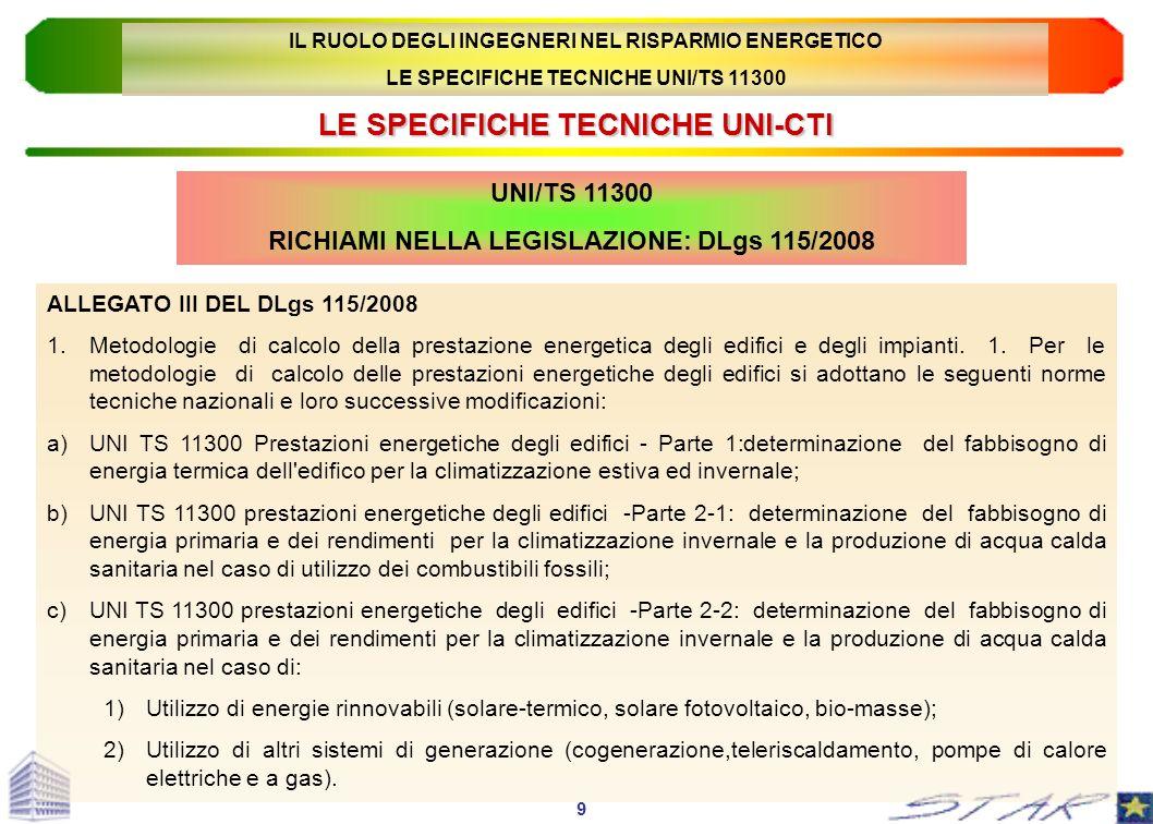 LE SPECIFICHE TECNICHE UNI-CTI UNI/TS 11300 RICHIAMI NELLA LEGISLAZIONE: DLgs 115/2008 ALLEGATO III DEL DLgs 115/2008 1.Metodologie di calcolo della p