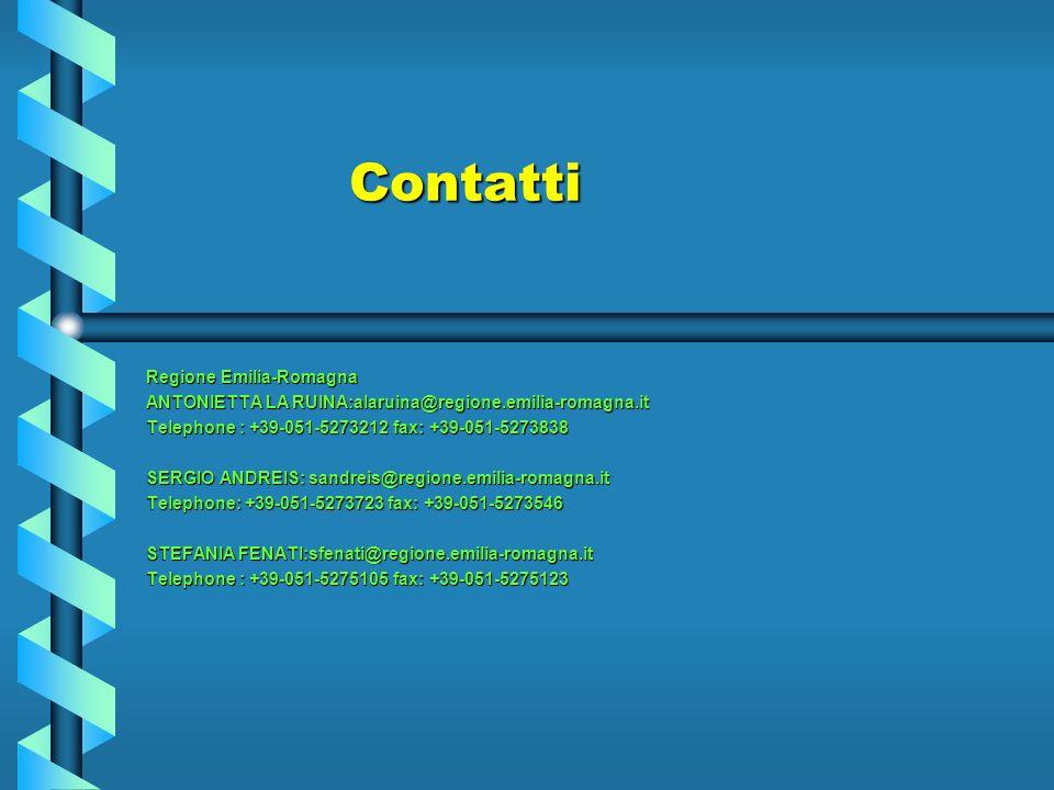 Contatti Regione Emilia-Romagna ANTONIETTA LA RUINA:alaruina@regione.emilia-romagna.it Telephone : +39-051-5273212 fax: +39-051-5273838 SERGIO ANDREIS: sandreis@regione.emilia-romagna.it Telephone: +39-051-5273723 fax: +39-051-5273546 STEFANIA FENATI:sfenati@regione.emilia-romagna.it Telephone : +39-051-5275105 fax: +39-051-5275123