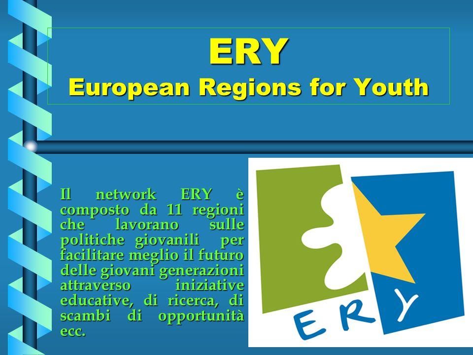 ERY European Regions for Youth Il network ERY è composto da 11 regioni che lavorano sulle politiche giovanili per facilitare meglio il futuro delle giovani generazioni attraverso iniziative educative, di ricerca, di scambi di opportunità ecc.