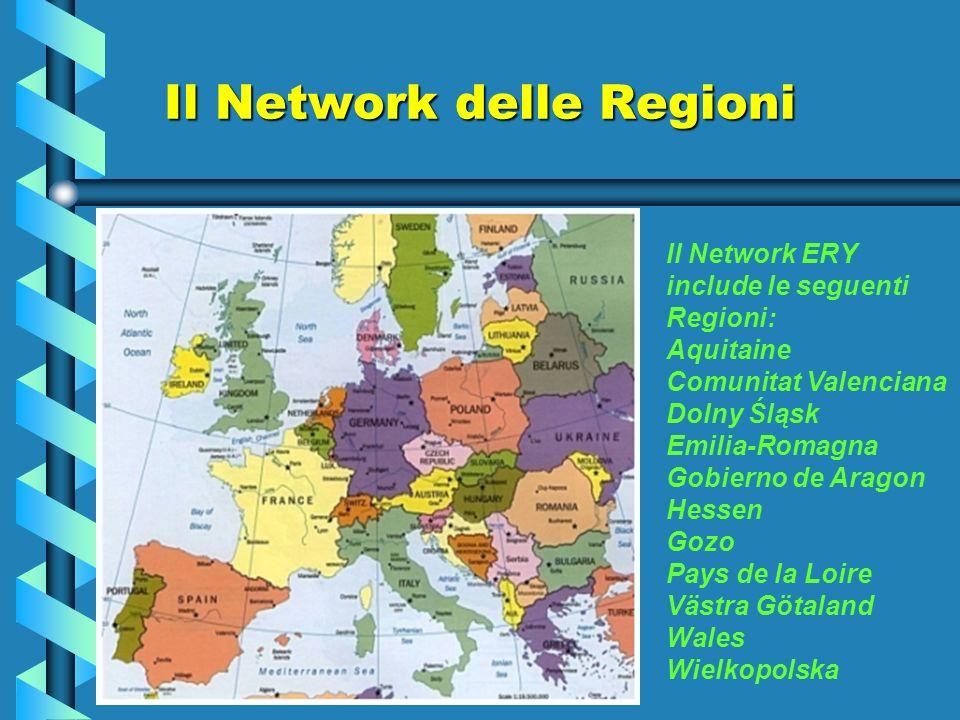 Obiettivi della rete Gli obiettivi del Network ERY sono: Promuovere la cooperazione tra le regioni partner sulleducazione formale e informale, supportare le politiche giovanili a livello locale, regionale e dellunione europea; Promuovere la cooperazione tra le regioni partner sulleducazione formale e informale, supportare le politiche giovanili a livello locale, regionale e dellunione europea; Promuovere la collaborazione tra i responsabili politici, i professionisti, i giovani della politica tra le regioni europee e condividere progetti di buone pratiche; Promuovere la collaborazione tra i responsabili politici, i professionisti, i giovani della politica tra le regioni europee e condividere progetti di buone pratiche; Offrire lopportunità alla Regioni dalla rete di lavorare insieme su particolariprogetti; Offrire lopportunità alla Regioni dalla rete di lavorare insieme su particolari progetti;