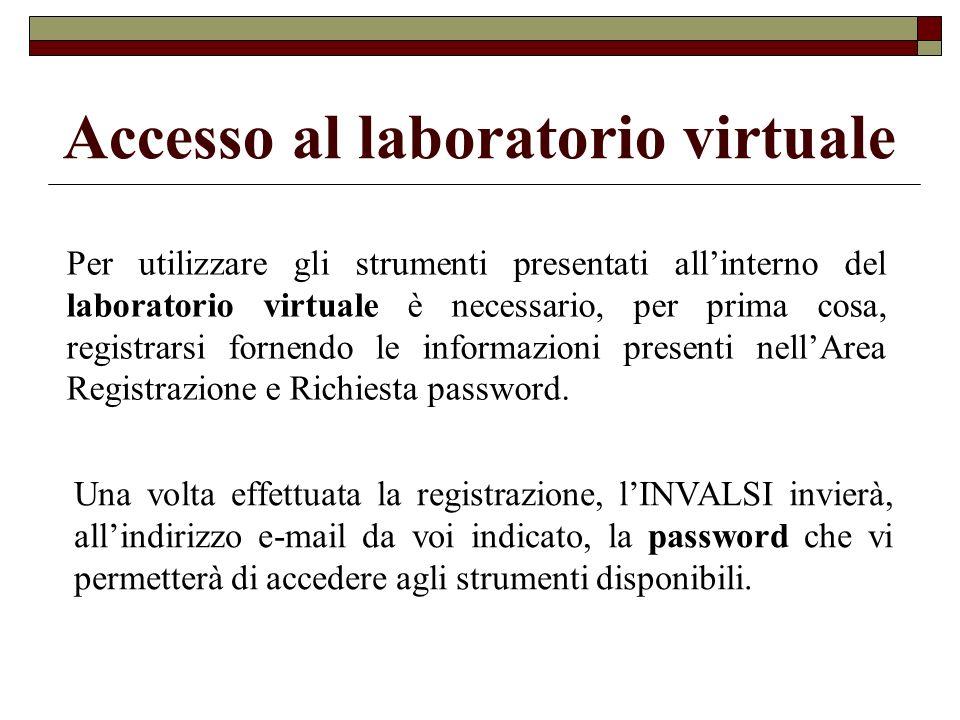 Accesso al laboratorio virtuale Per utilizzare gli strumenti presentati allinterno del laboratorio virtuale è necessario, per prima cosa, registrarsi