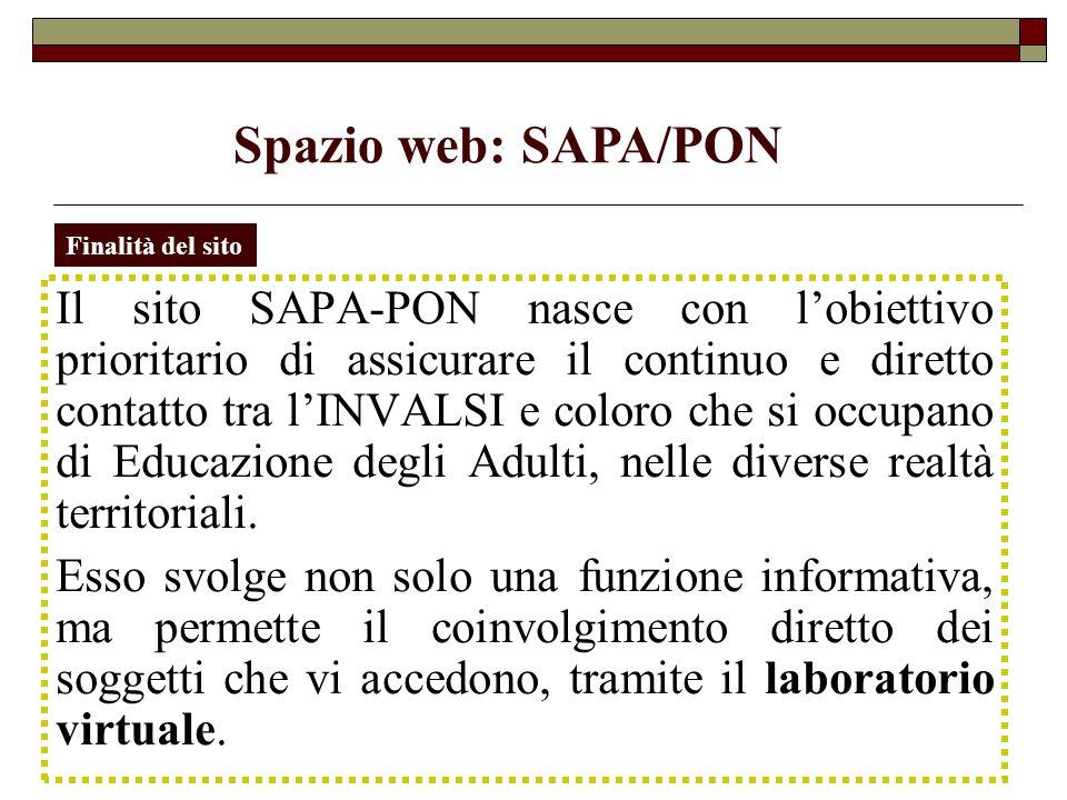 Home page SAPA/PON Allinterno dellHome page, sotto il logo del progetto SAPA-PON, si trova lindirizzo mail da utilizzare per i contatti col gruppo di lavoro INVALSI e per richiedere gli strumenti diagnostici.