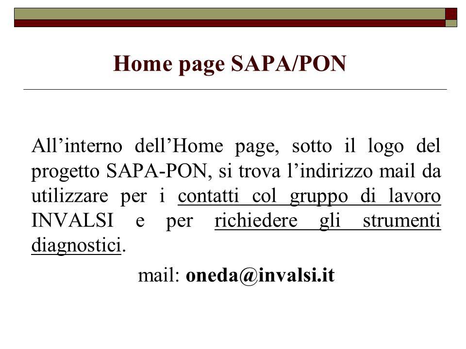 Home page SAPA/PON Allinterno dellHome page, sotto il logo del progetto SAPA-PON, si trova lindirizzo mail da utilizzare per i contatti col gruppo di