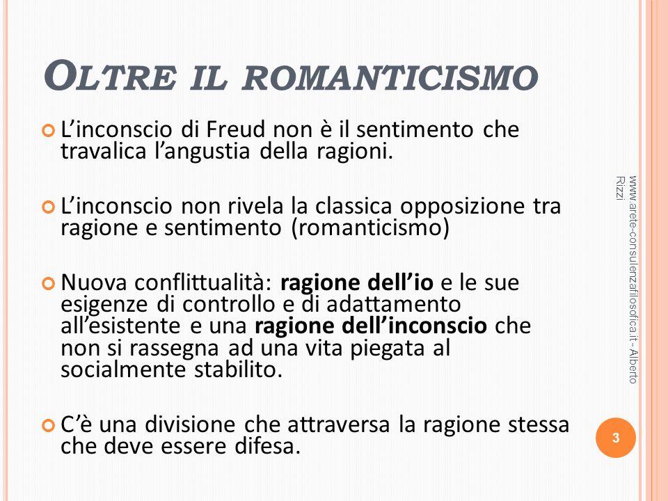 O LTRE IL ROMANTICISMO Linconscio di Freud non è il sentimento che travalica langustia della ragioni. Linconscio non rivela la classica opposizione tr