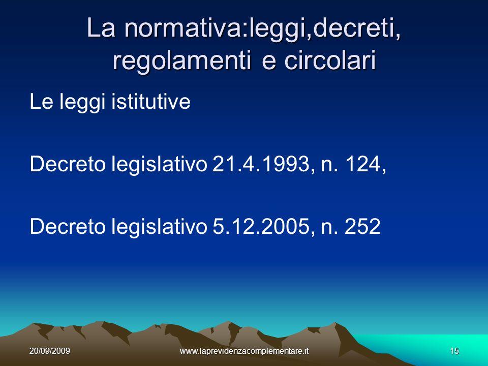 20/09/2009www.laprevidenzacomplementare.it15 La normativa:leggi,decreti, regolamenti e circolari Le leggi istitutive Decreto legislativo 21.4.1993, n.