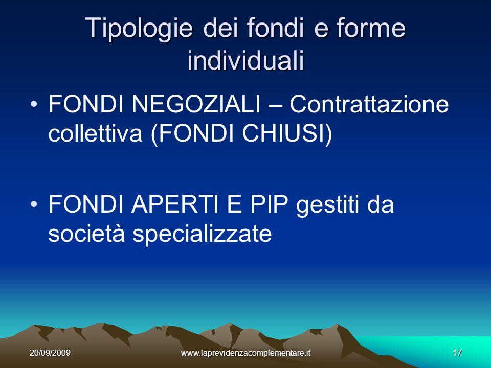 20/09/2009www.laprevidenzacomplementare.it17 Tipologie dei fondi e forme individuali FONDI NEGOZIALI – Contrattazione collettiva (FONDI CHIUSI) FONDI APERTI E PIP gestiti da società specializzate