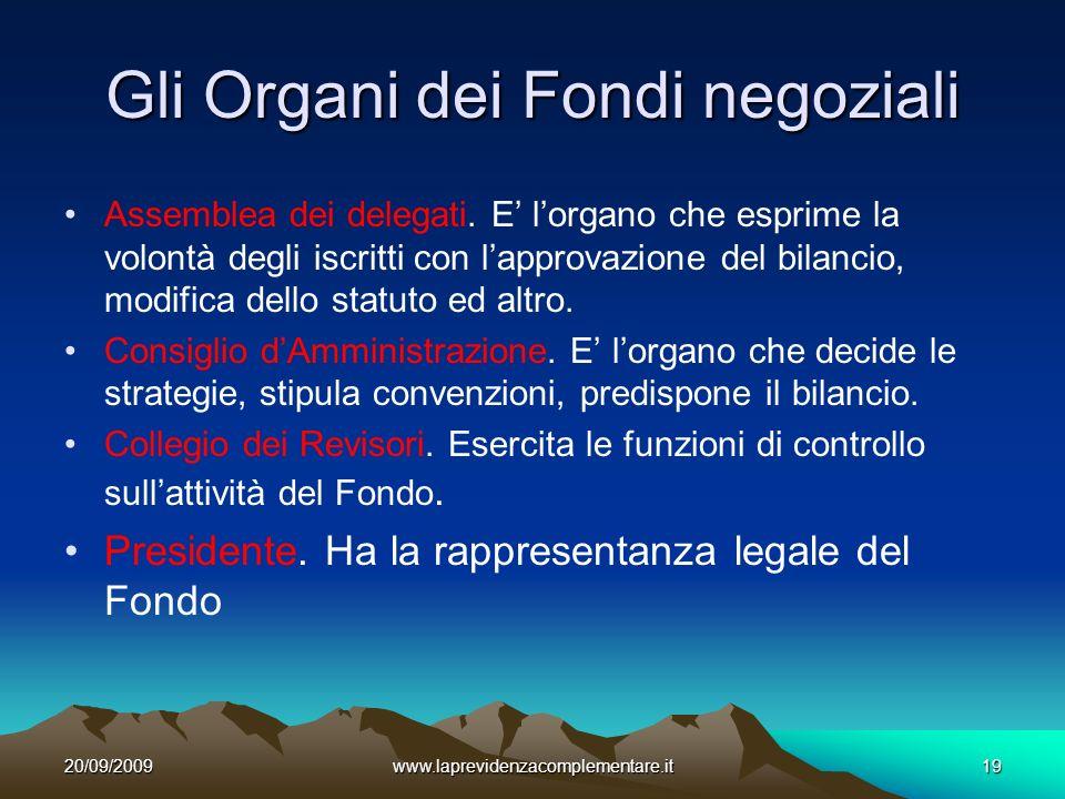 20/09/2009www.laprevidenzacomplementare.it19 Gli Organi dei Fondi negoziali Assemblea dei delegati.