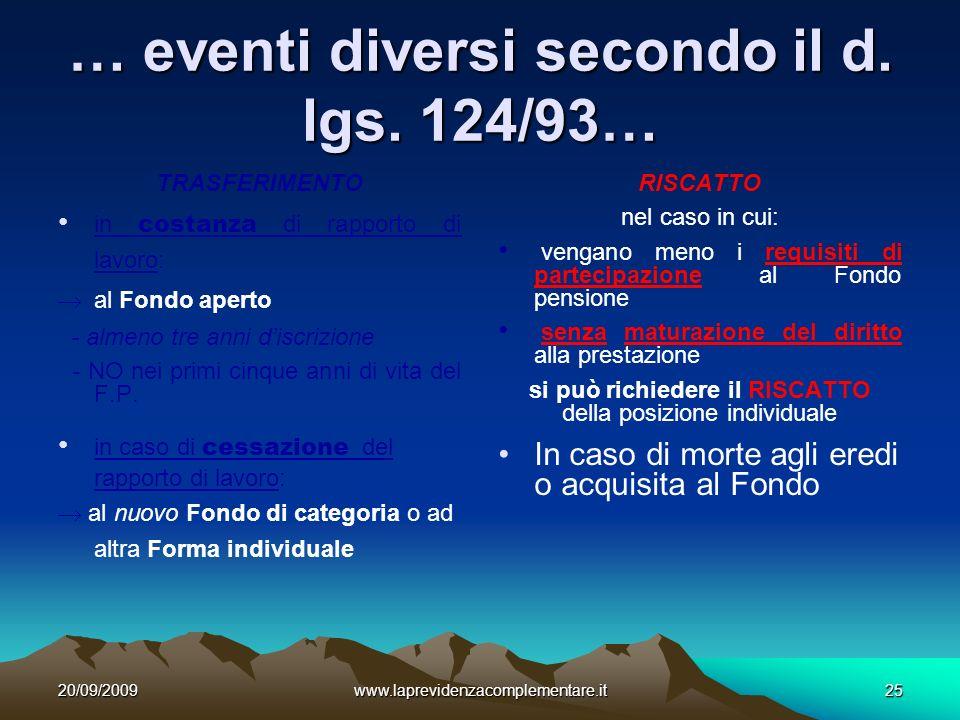 20/09/2009www.laprevidenzacomplementare.it25 … eventi diversi secondo il d.