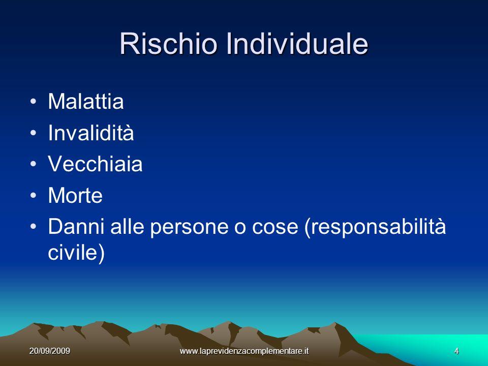 20/09/2009www.laprevidenzacomplementare.it4 Rischio Individuale Malattia Invalidità Vecchiaia Morte Danni alle persone o cose (responsabilità civile)