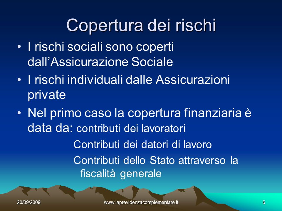 20/09/2009www.laprevidenzacomplementare.it16 La previdenza complementare è: Volontaria A capitalizzazione A contribuzione definita (possibile anche a prestazione definita per gli autonomi)