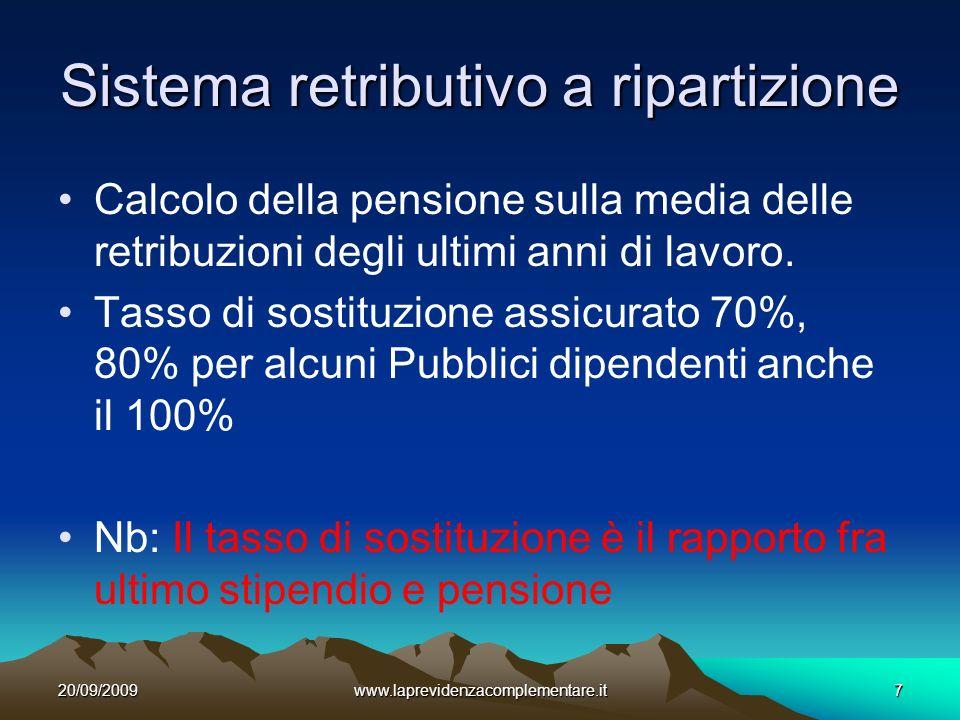 20/09/2009www.laprevidenzacomplementare.it7 Sistema retributivo a ripartizione Calcolo della pensione sulla media delle retribuzioni degli ultimi anni di lavoro.