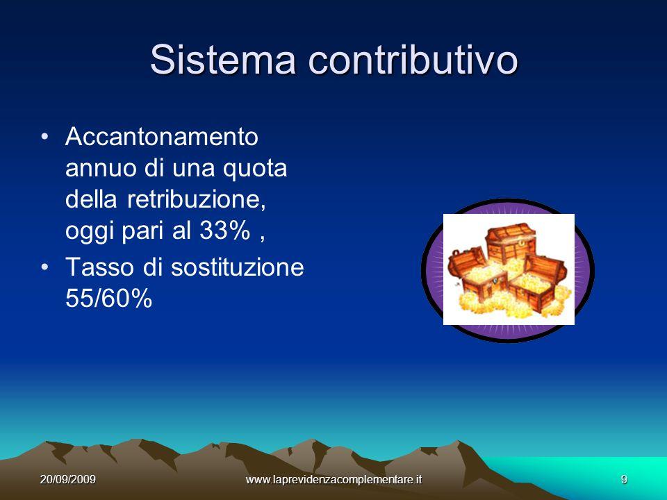 20/09/2009www.laprevidenzacomplementare.it9 Sistema contributivo Accantonamento annuo di una quota della retribuzione, oggi pari al 33%, Tasso di sostituzione 55/60%