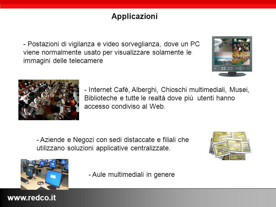 www.redco.it Applicazioni - Postazioni di vigilanza e video sorveglianza, dove un PC viene normalmente usato per visualizzare solamente le immagini de